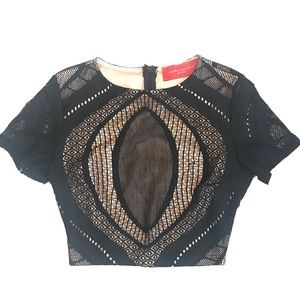 AKIRA Chicago Red Label. Black, Nude Lace Crop Top